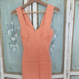 Herve Leger   peach bandage dress